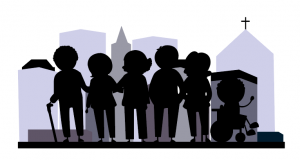 Silhouette of a group of elderly people standing together and supporting each other